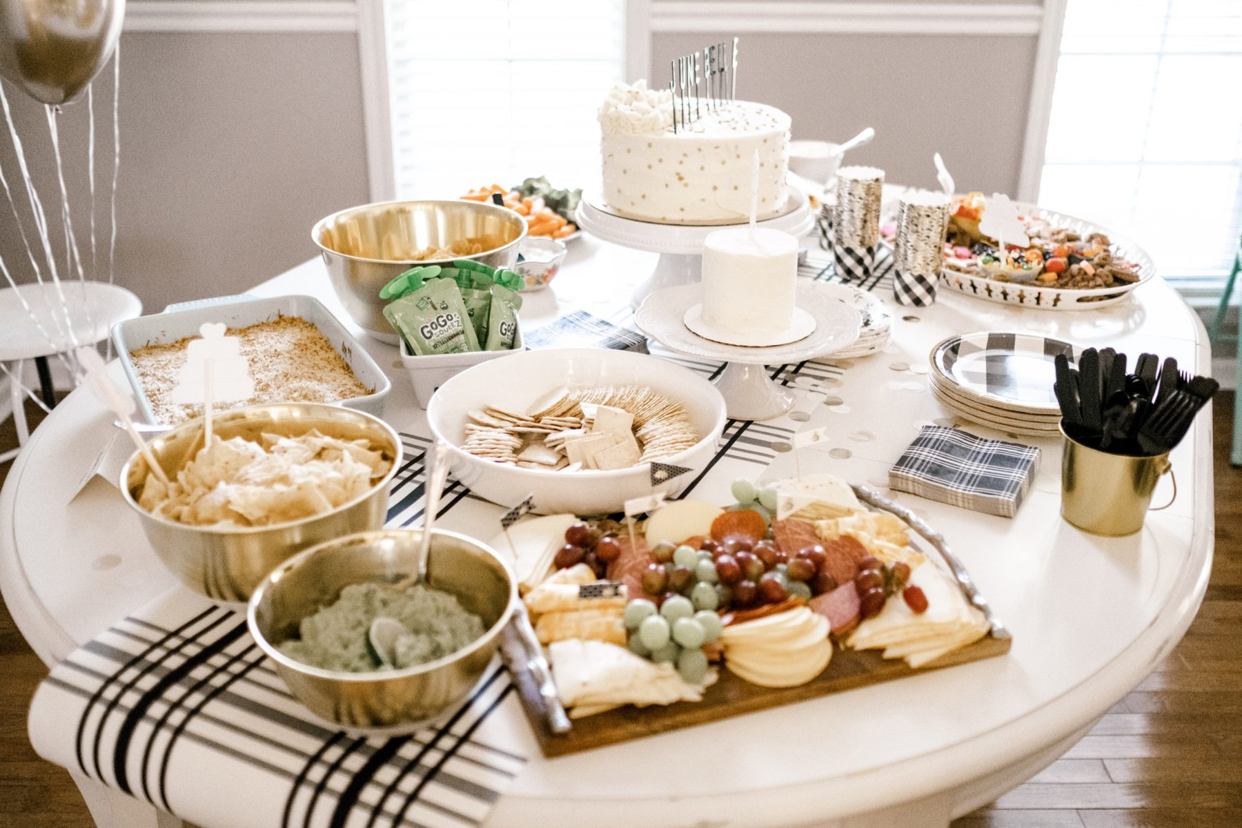 Birthday Cake and Food Table: June Belle's First Birthday Party featured on Nashville Baby Guide