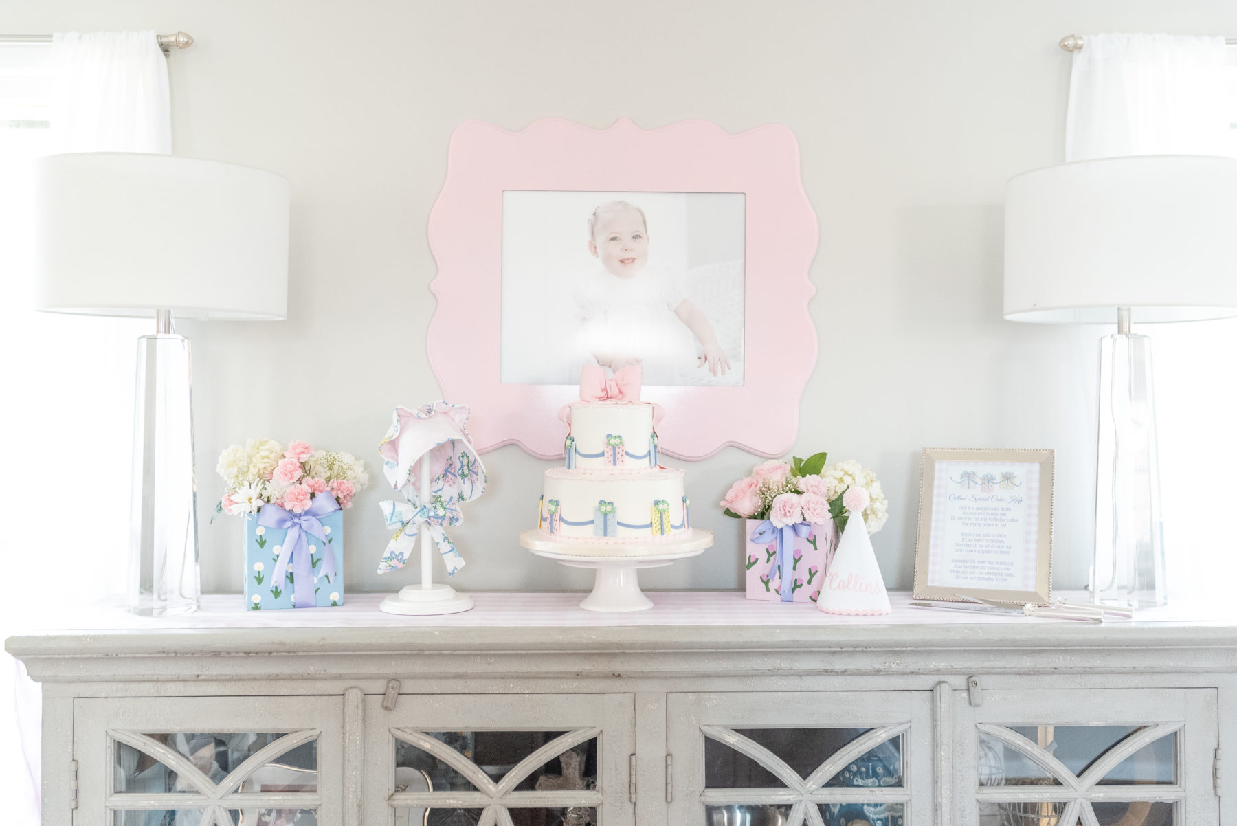 Birthday Party Cake Table: Gorgeous Pastel 1st Birthday Party featured on Nashville Baby Guide