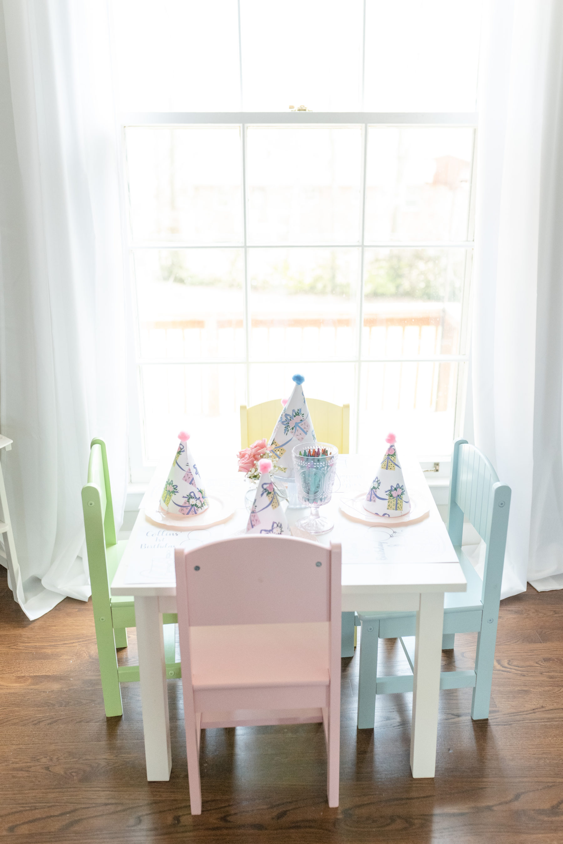 Pastel Kids Table: Gorgeous Pastel 1st Birthday Party featured on Nashville Baby Guide