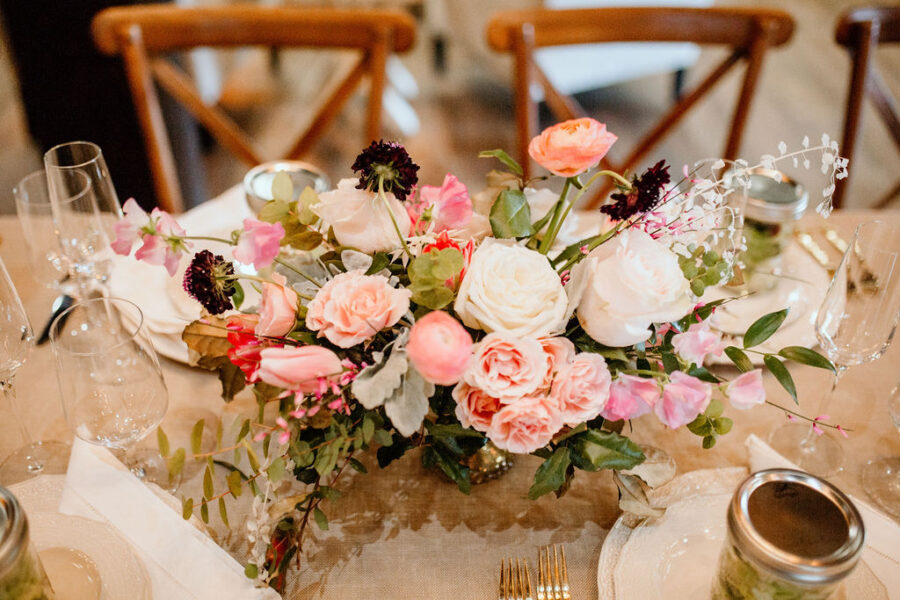 Stella Rose Floral centerpieces: Modern Pink Baby Shower from Ninth & Everett