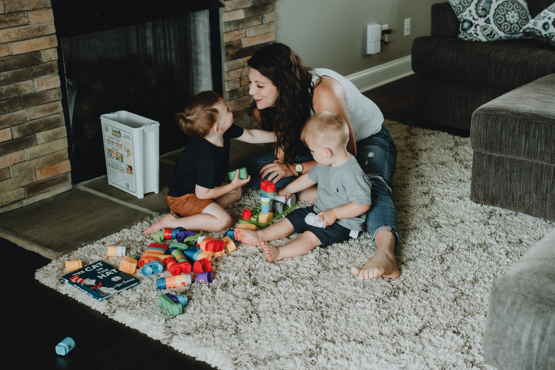 Mom playing blocks with her boys | Nashville Baby Guide